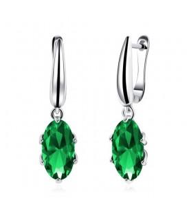 Ródium bevonatú smaragdzöld köves fülbevaló