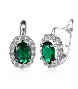 Smaragdzöld kristályos, francia kapcsos fülbevaló