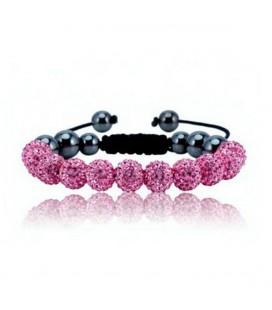Rózsaszín kristályos shamballa karkötő