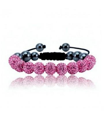 ékszer webshop Rózsaszín kristályos shamballa karkötő