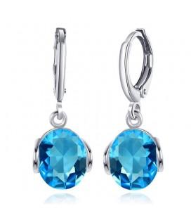Kék Swarovski kristályos,ródium bevonatú fülbevaló