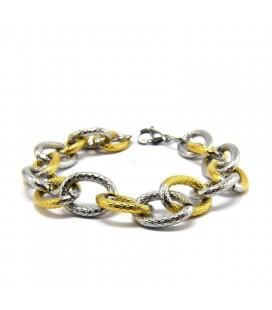 ékszer webshop Arany-ezüst színű, vastag láncszemes nemesacél