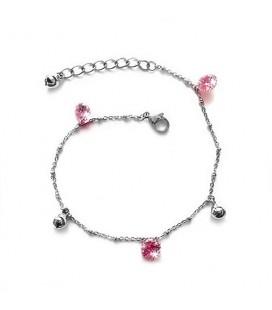 Nemesacél bokalánc rózsaszín kristályokkal és gömbökkel díszítve