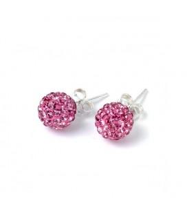 Rózsaszín kristályos shamballa fülbevaló