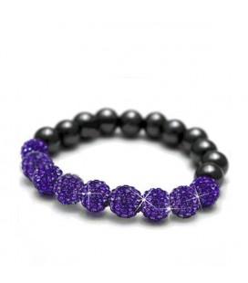 ékszer webshop Sztreccs shamballa karkötő lila kristályokkal