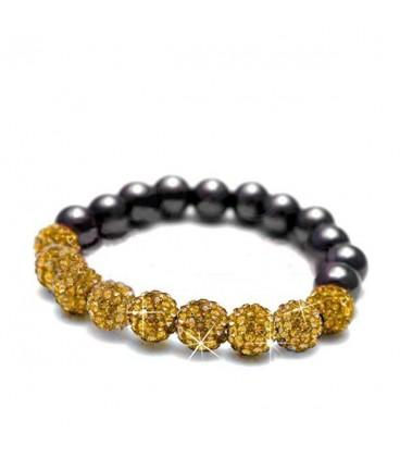 ékszer webshop Sztreccs shamballa karkötő arany kristályokkal