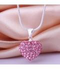 ékszer webshop Rózsaszín kristályos szív shamballa nyaklánc