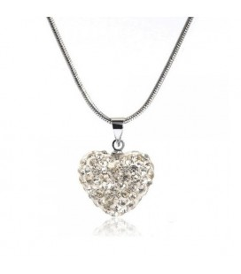 Fehér kristályos szív shamballa nyaklánc