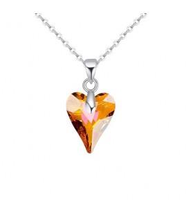 Swarovski kristályos vad szív medál nemesacél lánccal - narancs