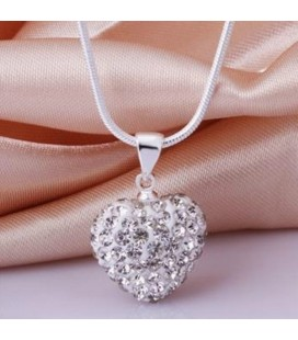 ékszer webshop Fehér kristályos szív shamballa nyaklánc