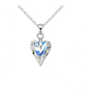 Swarovski kristályos vad szív medál nemesacél lánccal - szivárvány