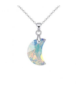Swarovski kristályos hold medál nemesacél lánccal - szivárvány
