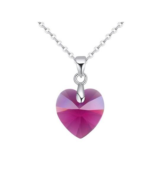 Swarovski kristályos szív medál nemesacél lánccal - pink