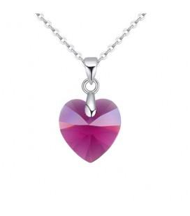 Swarovski kristályos szív medál nemesacél lánccal - fuchsia 18 mm