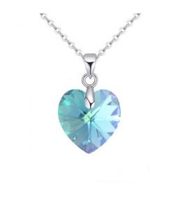 Swarovski kristályos szív medál nemesacél lánccal - aquamarin 9 mm