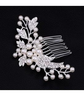 Gyöngyös-kristályos menyasszonyi hajfésű