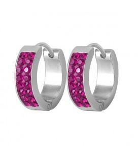 Pink kristályos, 2 soros nemesacél karika fülbevaló