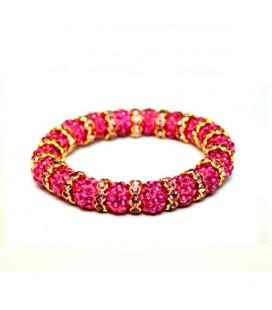 ékszer webshop Rózsaszín kristályos, egyedi shamballa karkötő