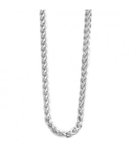 Fonott szemes nyaklánc nemesacélból (60+5 cm x 3 mm)