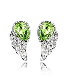 ékszer webshop Zöld kristályos angyalszárny fülbevaló