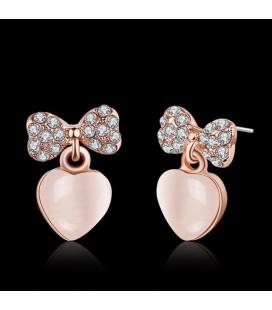 ékszer webshop Rozé aranyozott szív fülbevaló masnival