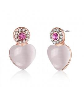 Rozé aranyozott szív fülbevaló rózsaszín kővel