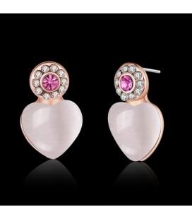 ékszer webshop Rozé aranyozott szív fülbevaló rózsaszín kővel