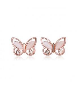 ékszer webshop Rozé aranyozott pillangó fülbevaló