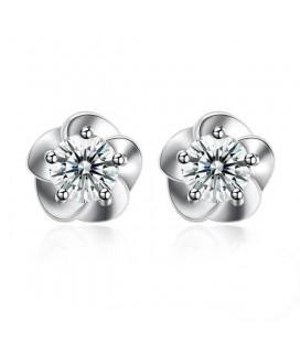 Ezüst virág fülbevaló cirkóniával
