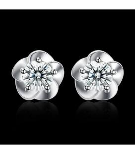 ékszer webshop Ezüst virág fülbevaló cirkóniával