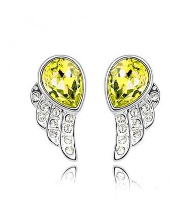 ékszer webshop Sárga kristályos angyalszárny fülbevaló