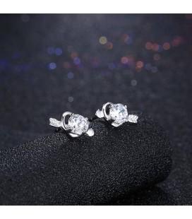 ékszer webshop Szerelem ezüst fülbevaló cirkóniával