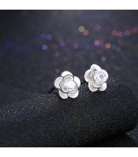 ékszer webshop Ezüst rózsa fülbevaló cirkóniával