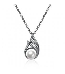 Fekete gyöngy, kristályos nyaklánc