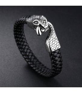 Fonott bőr karkötő titánium kígyó kapoccsal