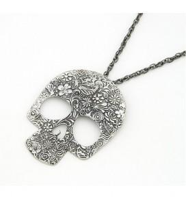 ékszer webshop Vintage koponya nyaklánc virág motívumokkal