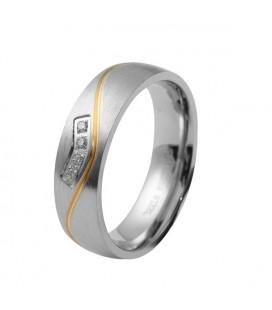 ékszer webshop Arany sávos női karikagyűrű nemesacélból