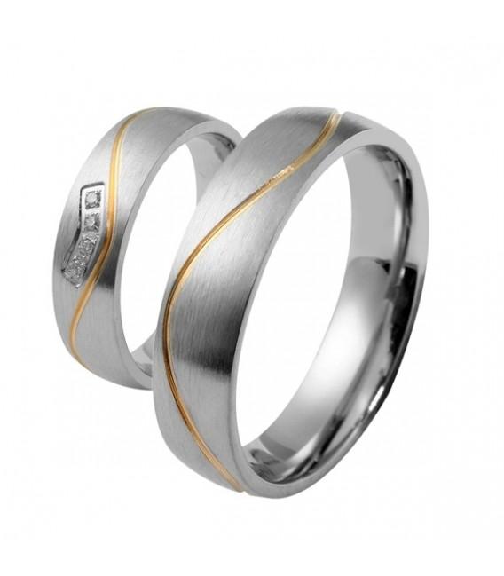 nemesacél gyűrű, Arany sávos férfi karikagyűrű nemesacélból