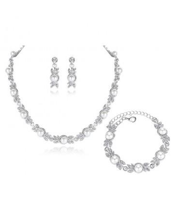 c0c4df5881 Különleges Exkluzív, 3 részes gyöngyös esküvői ékszerszett olcsó ár...