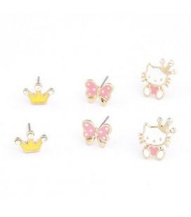 Hello Kitty variálható fülbevaló (3 pár)