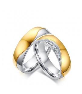 Kéttónusú, női titánium karikagyűrű, hullám bevéséssel