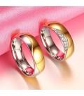 ékszer webshop Kéttónusú, női titánium karikagyűrű, hullám