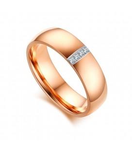 Rozé arany női titánium karikagyűrű, cirkónia kristályokkal