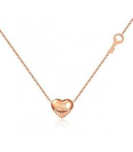 Nemesacél szív és kulcs medál nyakláncon - Rozé arany bevonattal