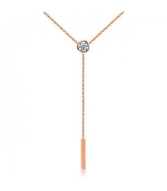 ékszer webshop Elegáns titánium nyaklánc kristállyal, rozé