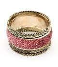 Rózsaszín kígyóbőr mintás, 5 részes karperec