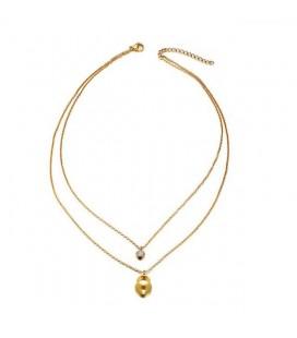 Dupla soros titánium nyaklánc kristály és lakat dísszel, arany bevonattal