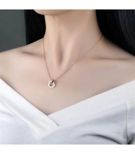 ékszer webshop Titánium szív medál nyakláncon, rozé arany
