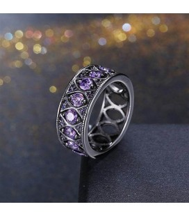 ékszer webshop Különleges, lila kristályos gyűrű, fekete