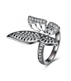 ékszer webshop Fekete pillangó, kristályos gyűrű